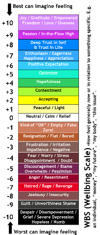 Wellbeing Scale used in our Meta Tapping Trainings